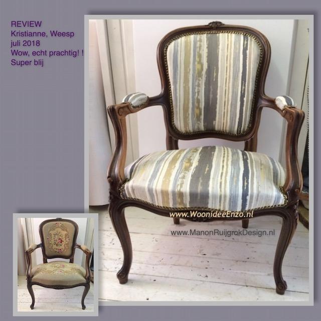 klassieke stoel glansstof meubelstoffering Weesp ManonRuijgrokDesign