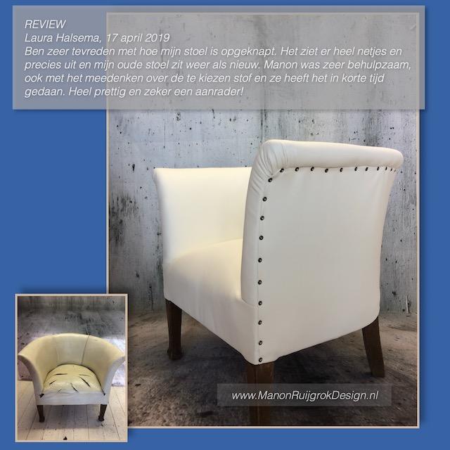 Design fauteuil skai wit ManonRuijgrokDesign meubelstoffering Weesp