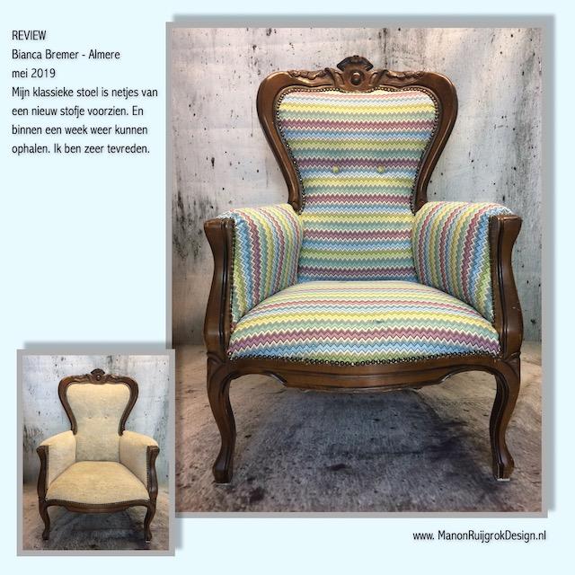 Klassieke stoel met gobelin stof gestoffeerd ManonRuijgrokDesign